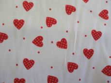 White with Red Hearts Dot 100% Cotton Fabric